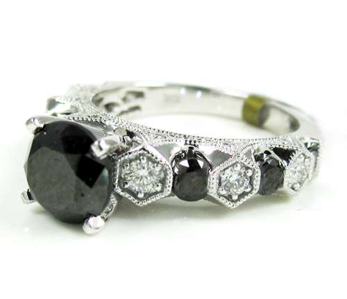 Ladies 10k White Gold Black & White Diamond Engagement Ring 3.10ct