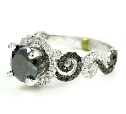 Ladies 10k White Gold Black & White Diamond Engagement Ring 2.15ct