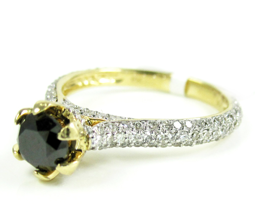 Ladies 14k Yellow Gold Black & White Diamond Engagement Ring 1.50ct