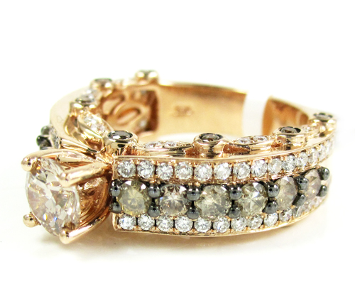 Ladies 14k rose gold champagne & white diamond engagement ring 2.69ct