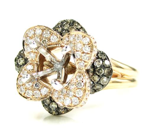 Ladies 14k white gold champagne & white diamond flower semi mount ring 0.99ct