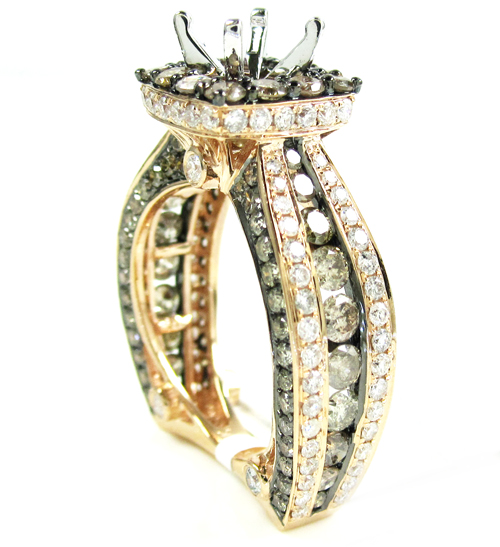 Ladies 14k rose gold champagne & white diamond semi mount ring 3.93ct