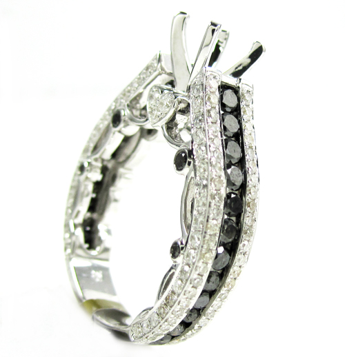 Ladies 10k white gold black & white diamond semi mount ring 2.37ct