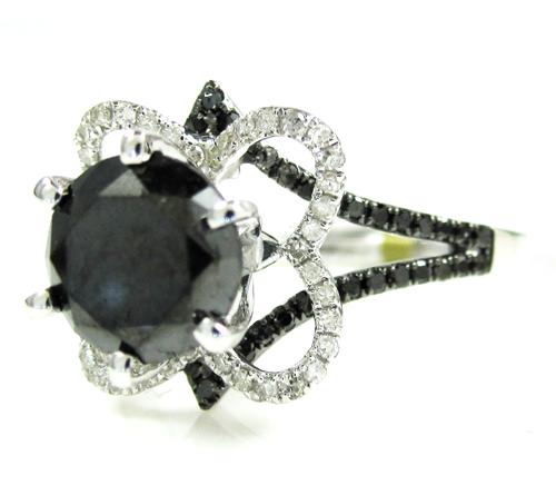 Ladies 10k White Gold Black & White Diamond Engagement Ring 2.36ct