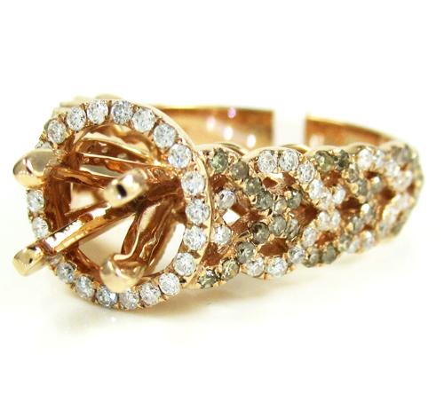 Ladies 14K Rose Gold Champagne & White Diamond Semi Mount Ring 1.04CT
