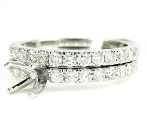 Ladies 14k White Gold Round Diamond Semi Mount Ring Set 1.13ct