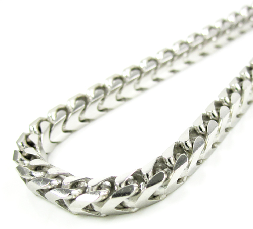 10k white gold solid franco link bracelet 9 inches 4.4mm