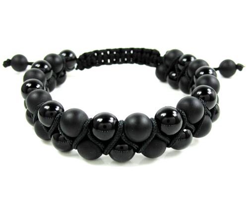 Macrame Matte & Glossy Black Onyx Smooth Bead Double Rope Bracelet
