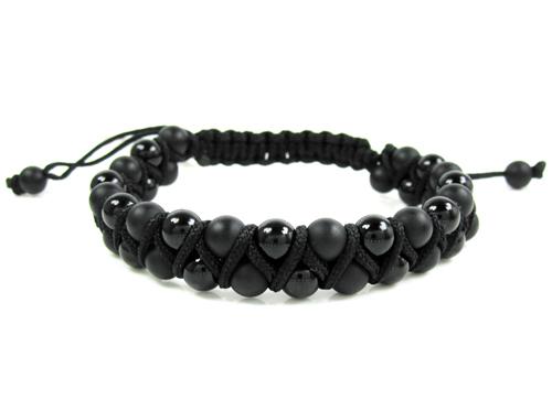 Macramé Matte & Glossy Black Onyx Smooth Bead Double Rope Bracelet