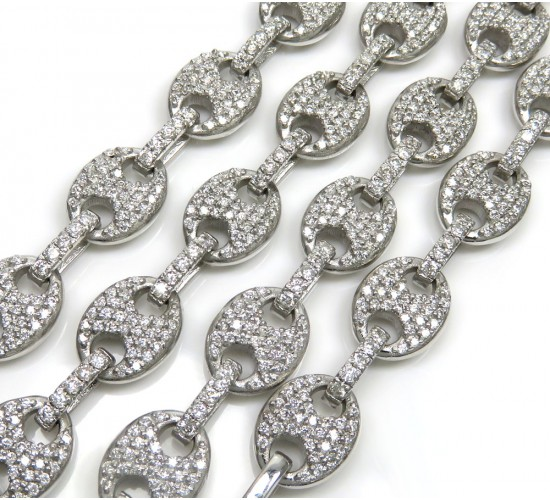 Mens 14k White Gold Diamond Gucci 9mm Link Chain 11.68ct