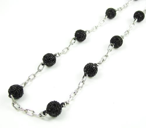 Mens 14k white gold black diamond bead chain 6.07ct