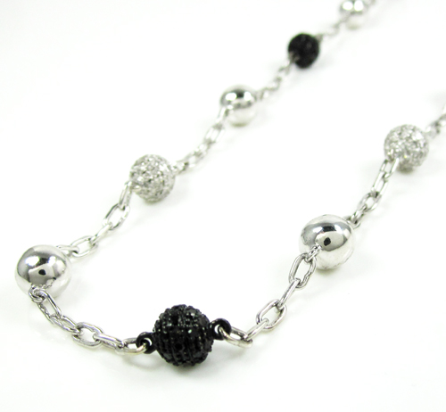 Mens 14k White Gold Black & White Diamond Bead Chain 3.13ct