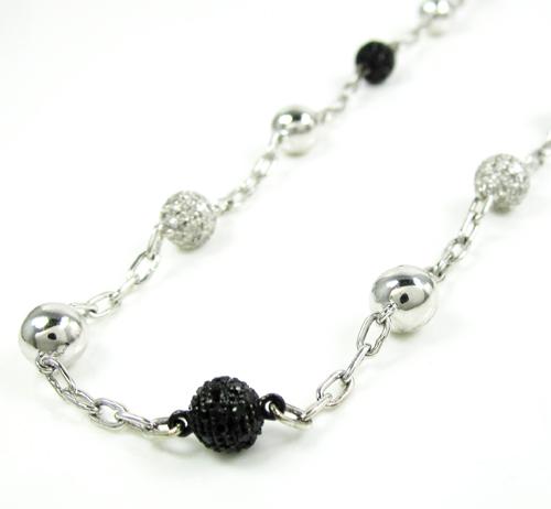 Mens 14k White Gold Black & White Diamond Bead Chain 3.13ct