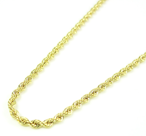10k Yellow Gold Skinny Rope Chain 16 Inch 2.15mm