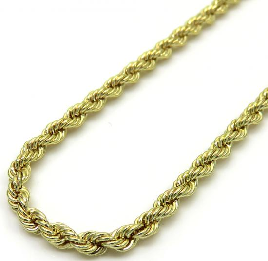 10k Yellow Gold Skinny Rope Chain 16-24 Inch 2.40mm