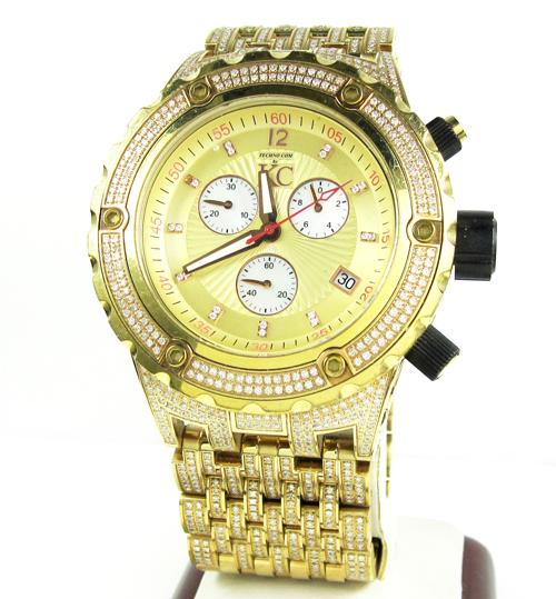 Mens techno com kc yellow stainless steel diamond xxl watch 10.00ct