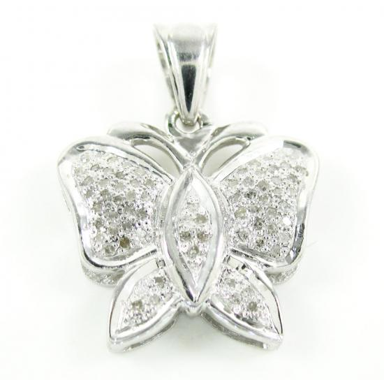 925 White Sterling Silver Pave Diamond Butterfly Pendant 0.17ct