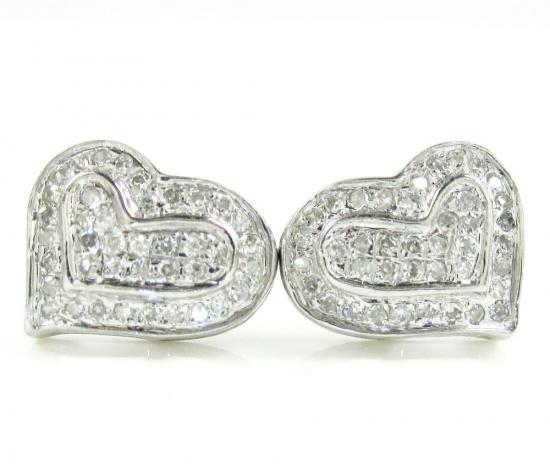 925 White Sterling Silver Diamond Heart Earrings 0.20ct