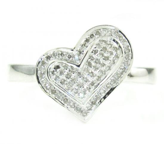 925 White Sterling Silver Diamond Heart Ring 0.17ct
