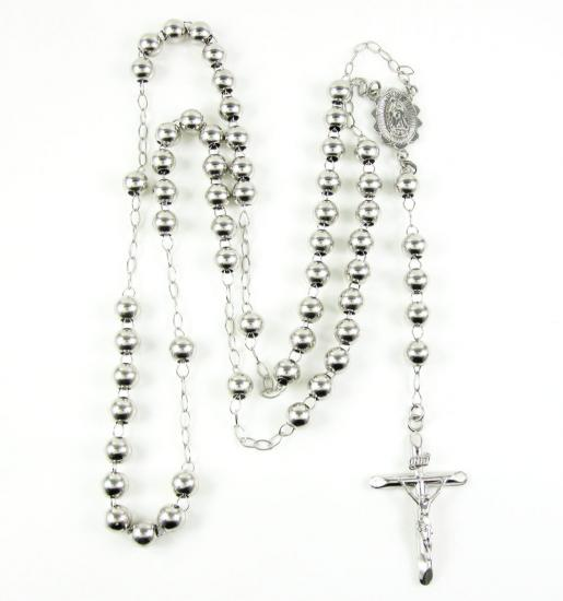 10k White Gold Smooth Bead Rosary Chain 6mm 28.70 Grams