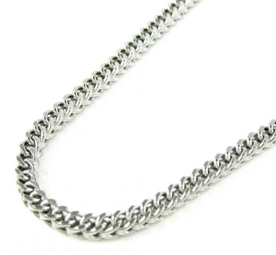 10k White Gold Franco Hollow Link Chain 26-36 Inch 3mm
