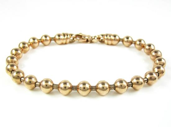 925 Rose Sterling Silver Ball Link Bracelet 7.5 Inch 6mm