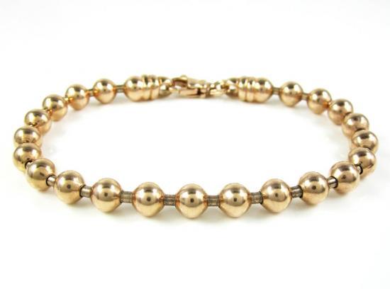 925 Rose Sterling Silver Ball Link Bracelet 7.5 Inch 6mm
