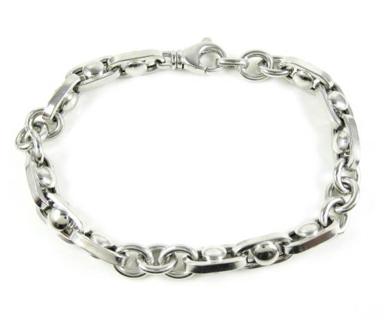 925 White Sterling Silver Anchor Link Bracelet 9 Inch 8.85mm