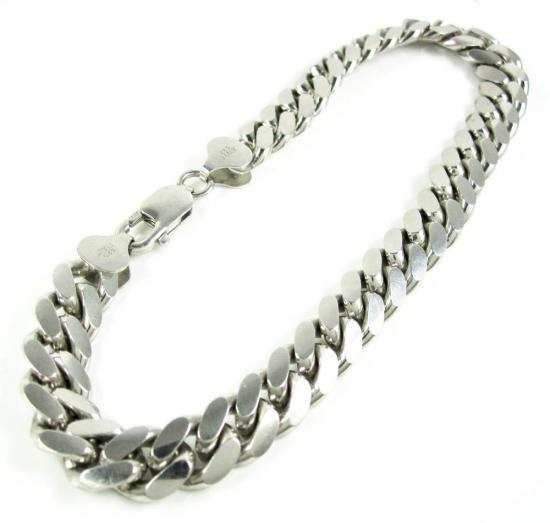 925 White Sterling Silver Miami Link Bracelet 8.50 Inch 7 Mm