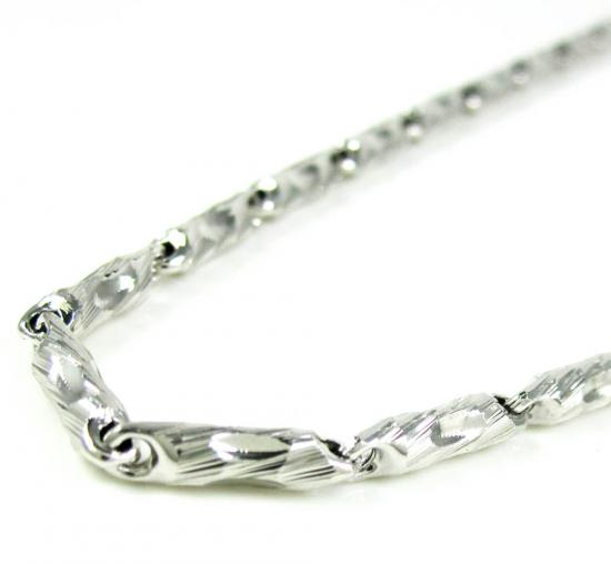 925 White Sterling Silver Faceted Bullet Link Chain 36 Inch 3mm