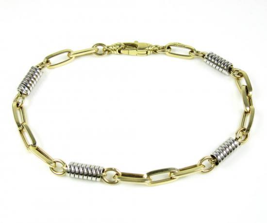 14k Two Tone Gold Fancy Link Bracelet 8 Inch 5.25mm