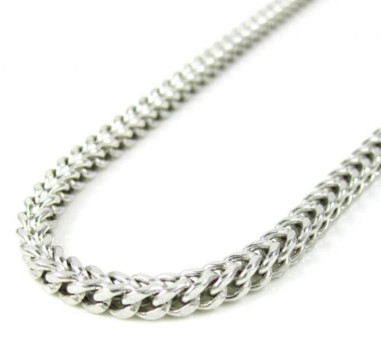 10k White Gold Smooth Cut Franco Link Chain 20-38 Inch 3mm