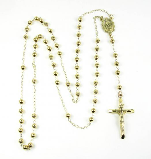 10k Yellow Gold Smooth Bead Rosary Chain 30 Inches 4mm