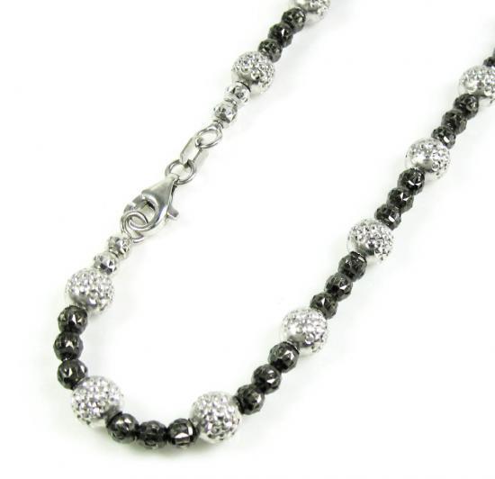 14k Black & White Gold Diamond Cut Bead Link Anklet Bracelet  11 Inch 5mm