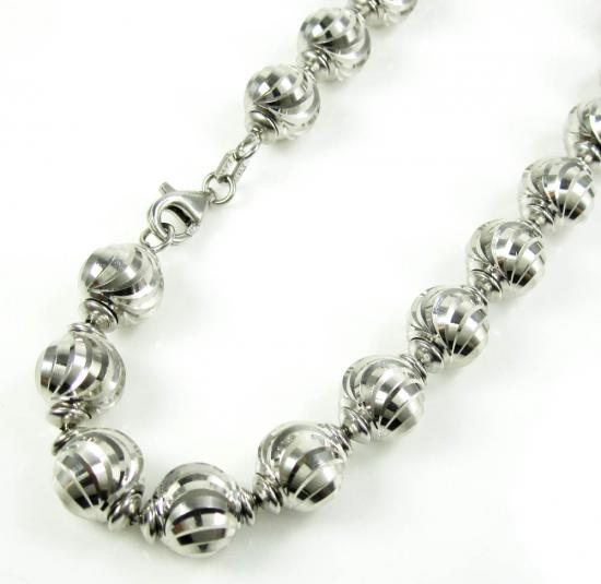14k White Gold Diamond Cut Bead Link Bracelet 8 Inch 8mm