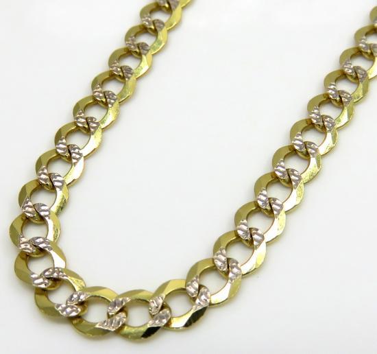 10k Yellow Gold Diamond Cut Cuban Link Chain 22-26 Inch 3.75mm