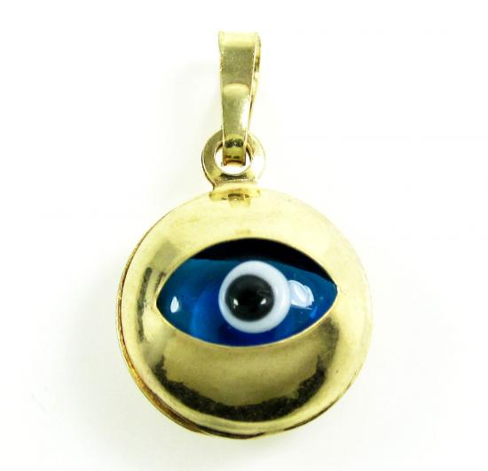 14k Yellow Gold Blue Evil Eye Charm