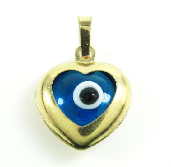 14k Yellow Gold Blue Evil Eye Heart Charm