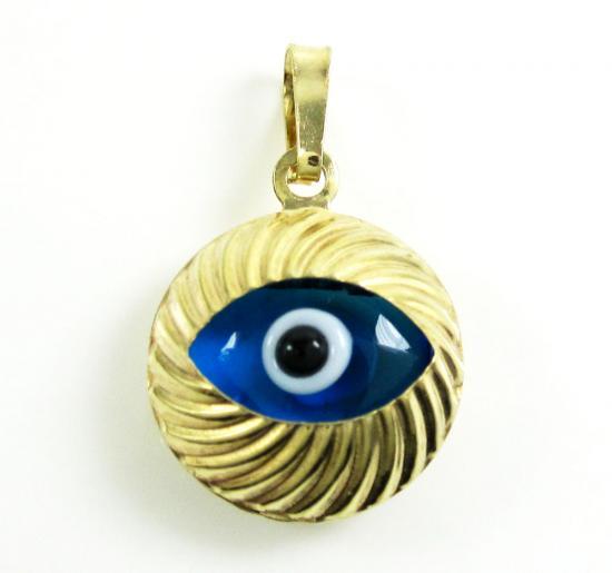 14k Yellow Gold Diamond Cut Blue Evil Eye Charm