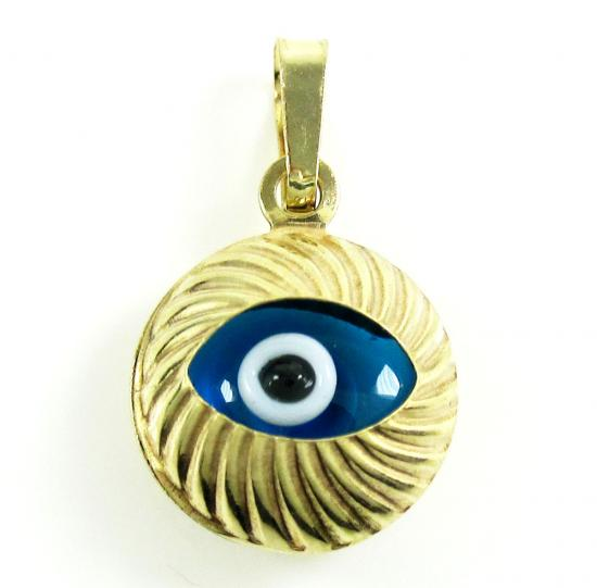 14k Yellow Gold Diamond Cut Blue Evil Eye Charm