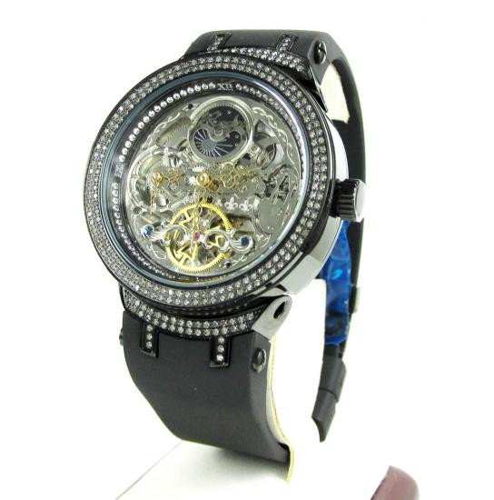 Joe Rodeo Master Black Automatic Diamond Watch 2.20ct