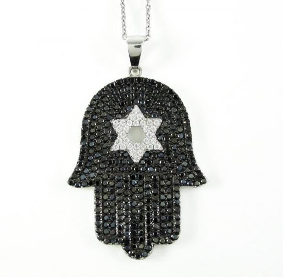 Sterling Silver Black & White Cz Star Of David Hamsa Pendant 2.50ct