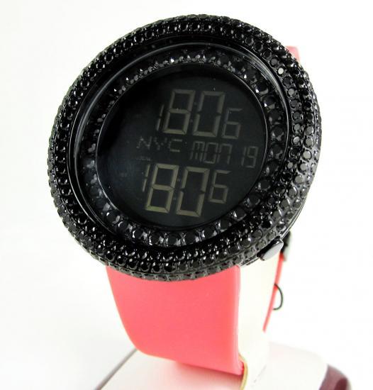 Mens Black Cz Jojino Digital Watch 10.00ct