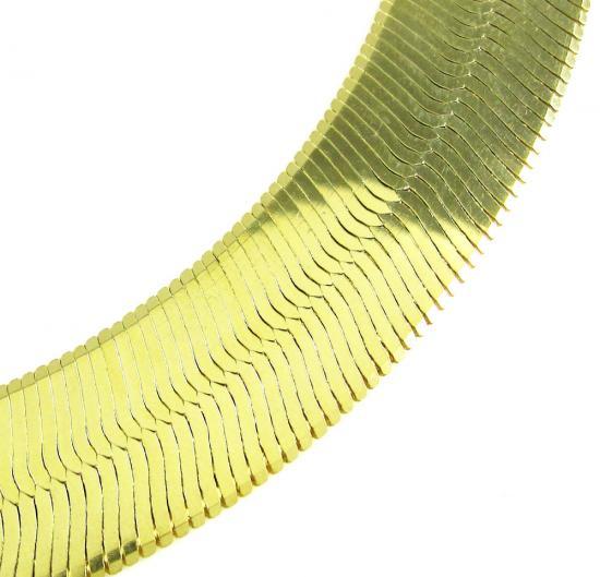 10k Yellow Gold Wide Herringbone Chain 24 Inch 15mm