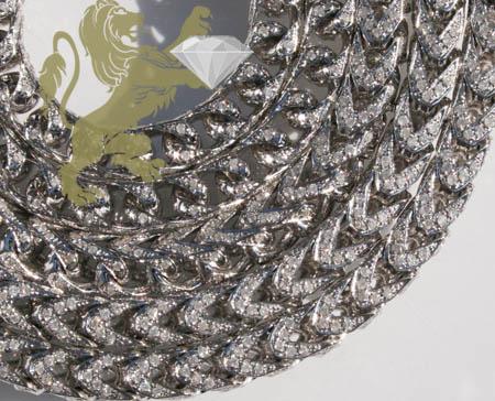 12.00ct 10k White Gold 'round Diamond Franco Chain'