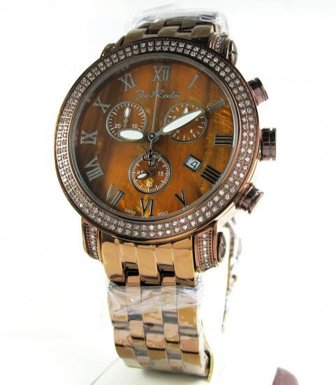 Mens Joe Rodeo Copper Finish Steel Diamond Classic Watch 1.75ct Jcl200