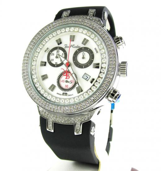 Mens Joe Rodeo White Stainless Steel Diamond Master Watch 2.20ct Jjm86