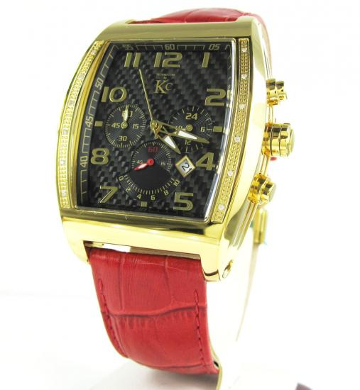Techno Com Kc Black Carbon Fiber Diamond Watch 0.15ct