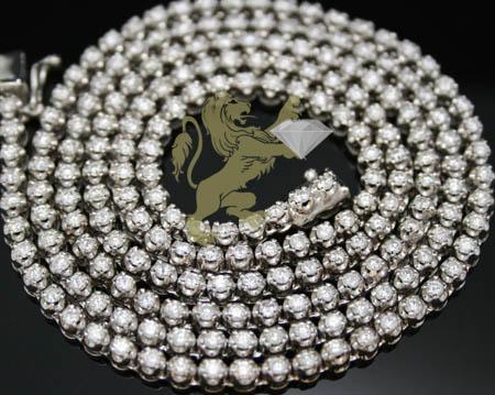 10.20ct 10k White Gold '0.05 Pointers Round Diamond' Chain