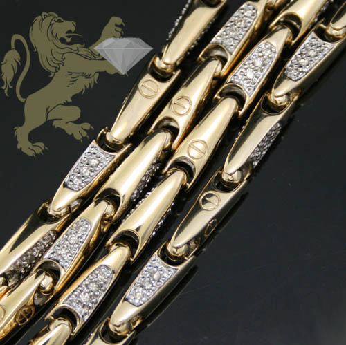4.00ct 14k Yellow Gold 'bullet Link Diamond Chain'